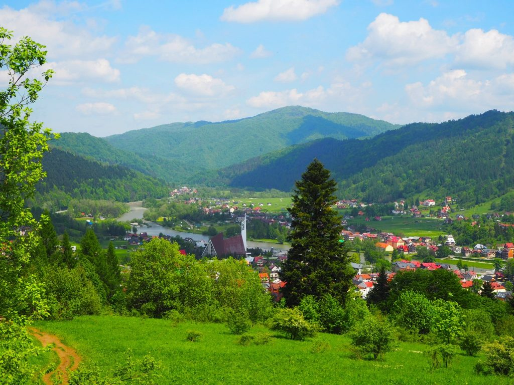 Pejzaż przedstawiający widok na Szczawnicę i okolice ze szlaku prowadzącego na Trzy Korony