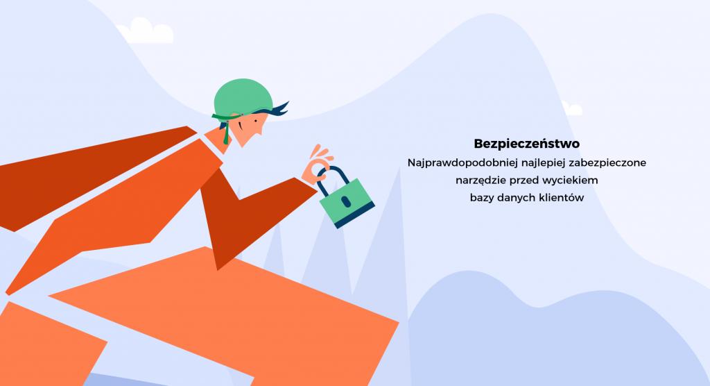 """Grafika przestawia bezpieczeństwo systemu Magento. Ludzik ma na głowie kask, a w ręku trzyma kłódkę. Użytkownik może czuć się bezpiecznie korzystając z platformy, ma świadomość jej zabezpieczeń. W tle napis: """"Najprawdopodobniej najlepiej zabezpieczone narzędzie przed wyciekiem danych klientów"""""""