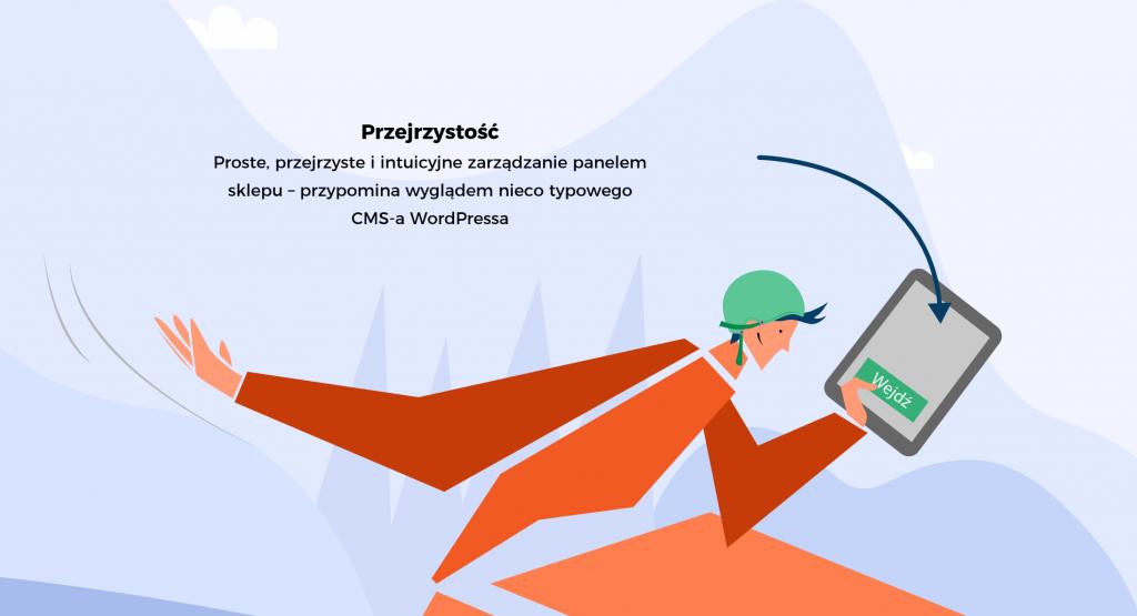 """Grafika przedstawia przejrzystość platformy. Ludzik przemierza trasę z tabletem w ręku, który ma przejrzysty interfejs. W tle napis: """"Proste, przejrzyste i intuicyjne zarządzanie panelem sklepu - przypomina wyglądem nieco typowego CMS-a WordPressa"""""""