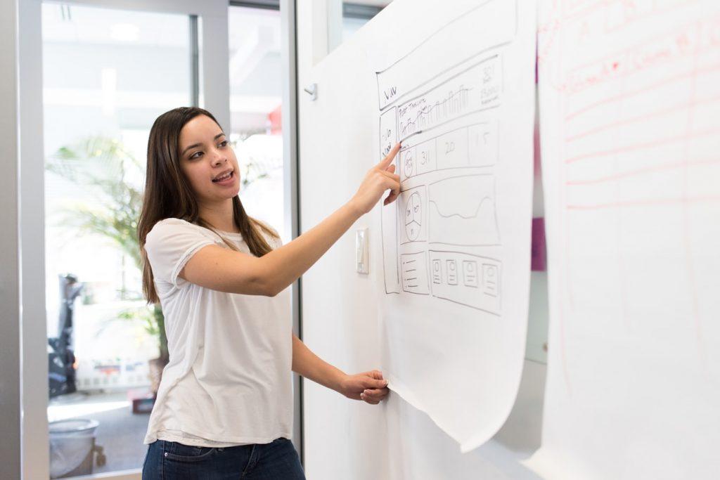 Dziewczyna tłumacząca innym projektowe zagadnienia. Stoi przy białej tablicy.