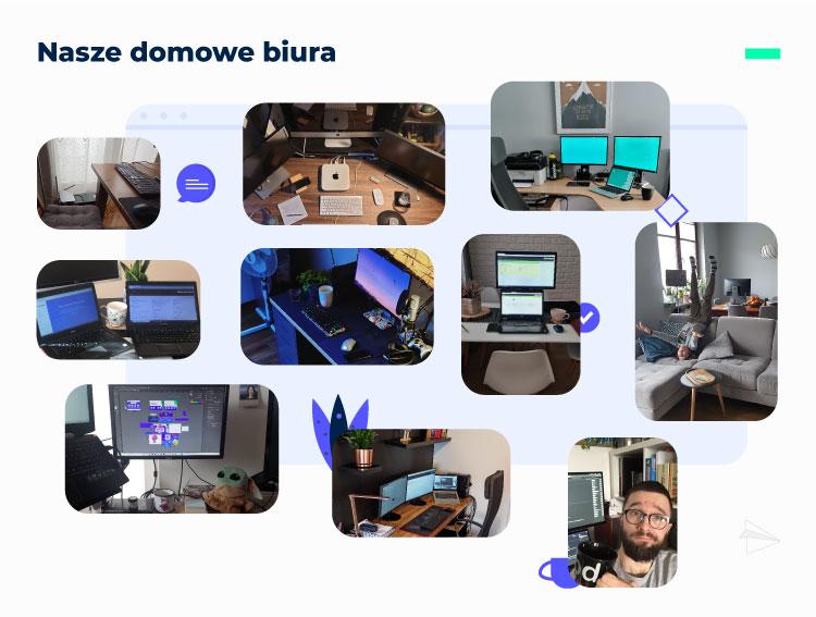 Pracownicy Mediaflex pokazują jak wygląda ich stanowisko pracy podczas pracy zdalnej.